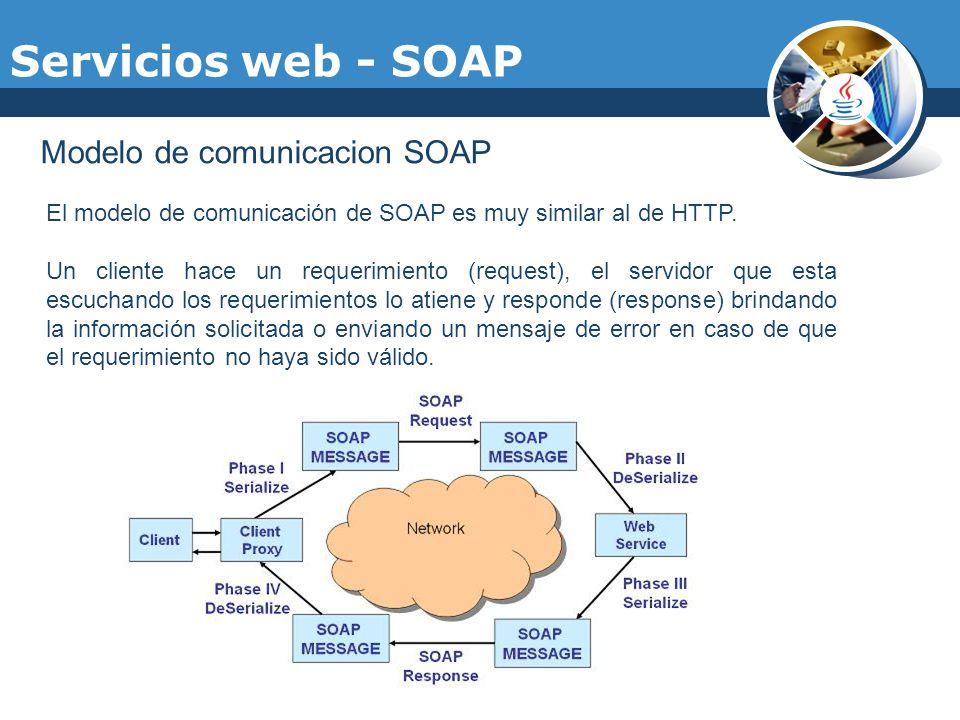 Servicios web - SOAP Modelo de comunicacion SOAP