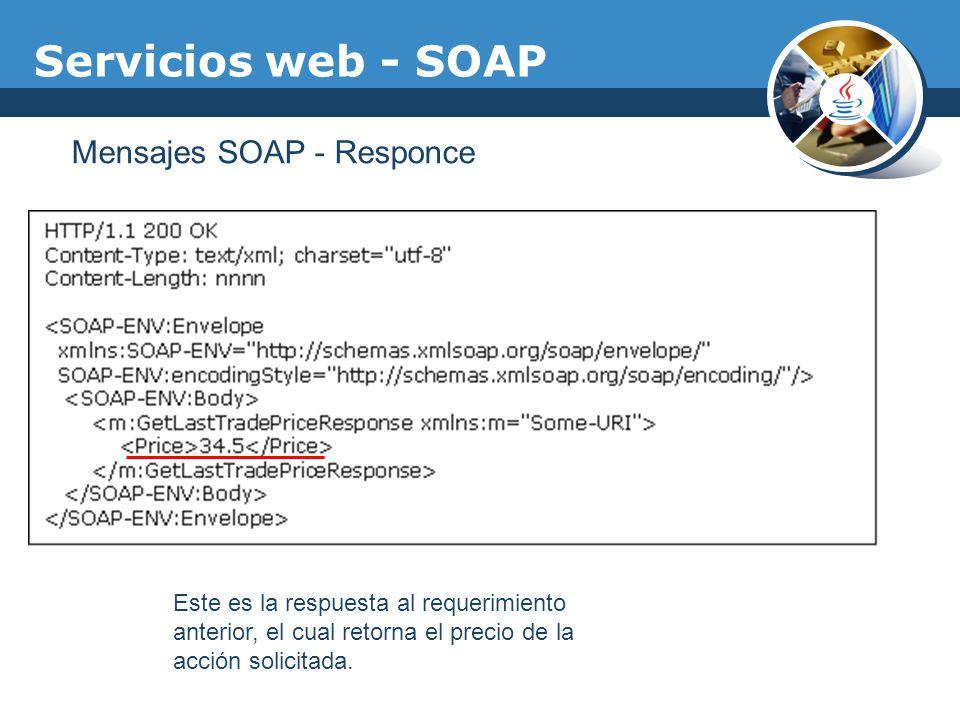 Servicios web - SOAP Mensajes SOAP - Responce