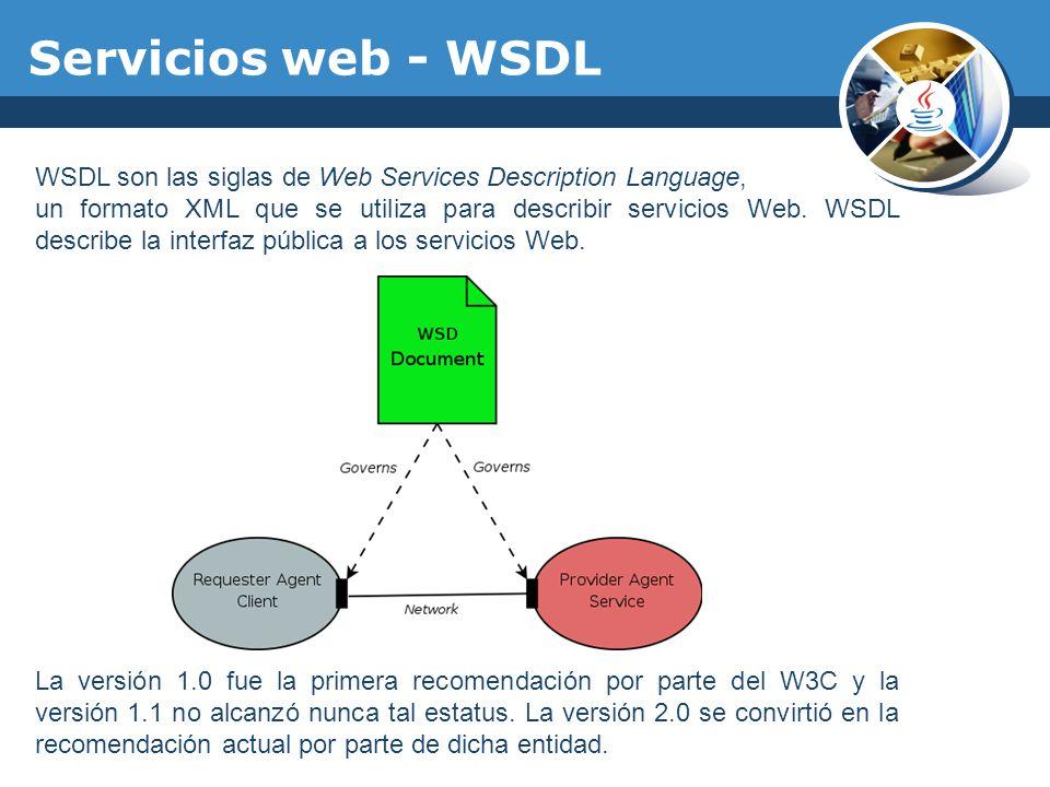 Servicios web - WSDL WSDL son las siglas de Web Services Description Language,