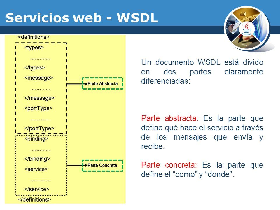 Servicios web - WSDL Un documento WSDL está divido en dos partes claramente diferenciadas: