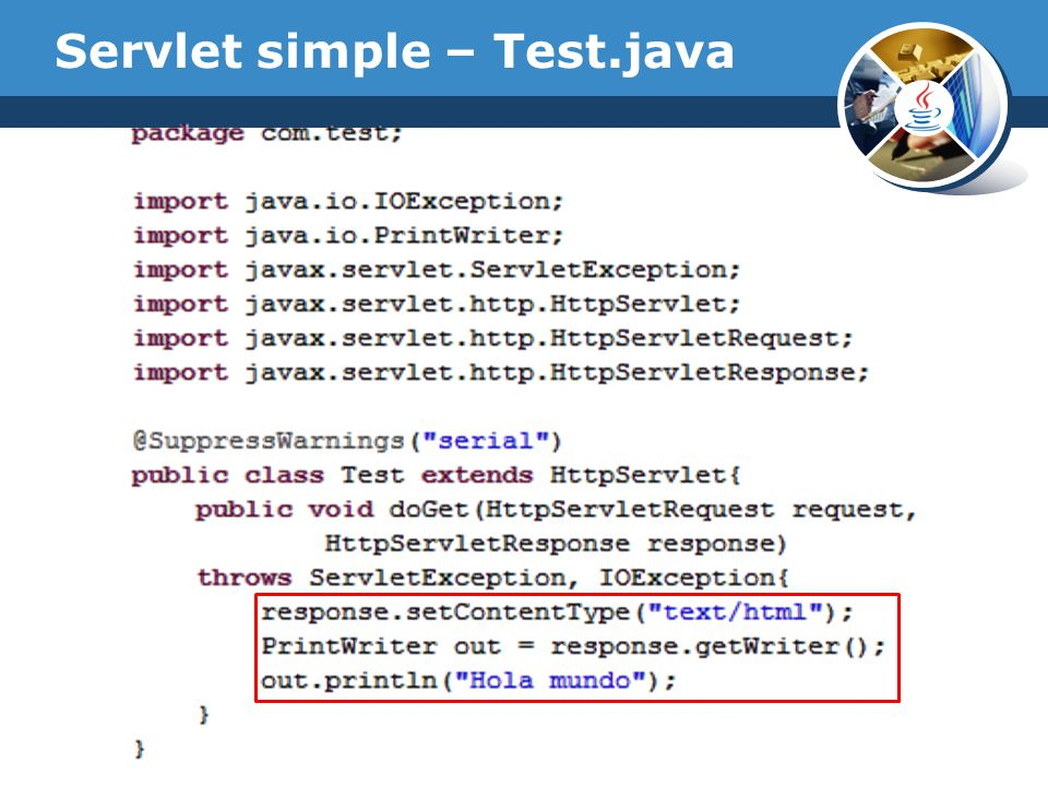 Servlet simple – Test.java