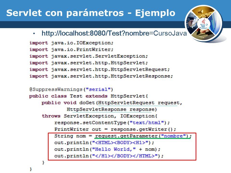 Servlet con parámetros - Ejemplo