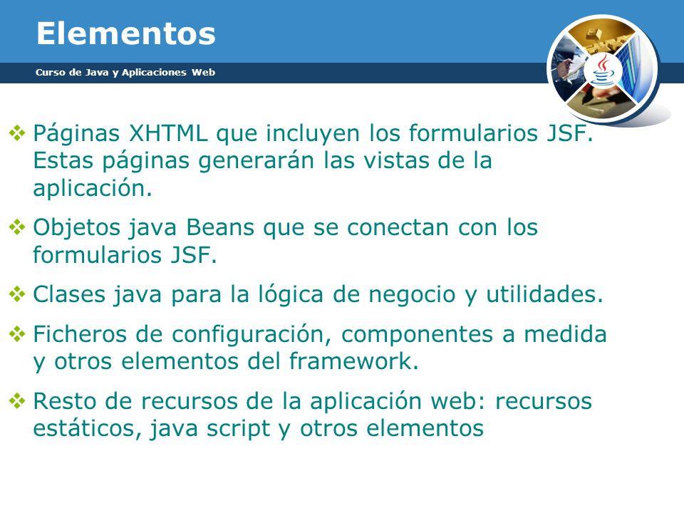 Elementos Curso de Java y Aplicaciones Web. Páginas XHTML que incluyen los formularios JSF. Estas páginas generarán las vistas de la aplicación.
