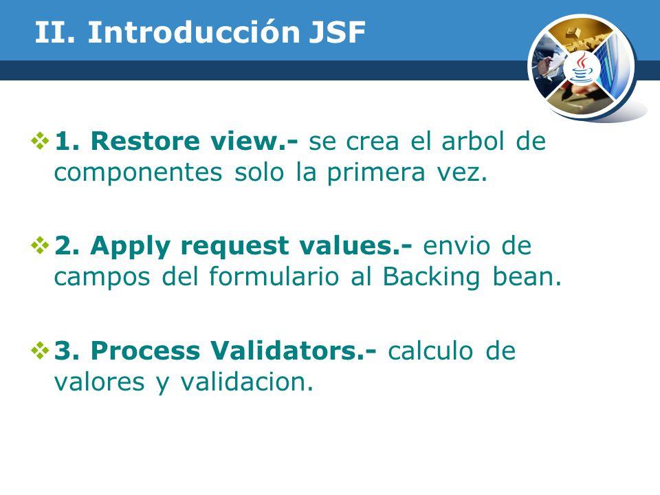 II. Introducción JSF 1. Restore view.- se crea el arbol de componentes solo la primera vez.