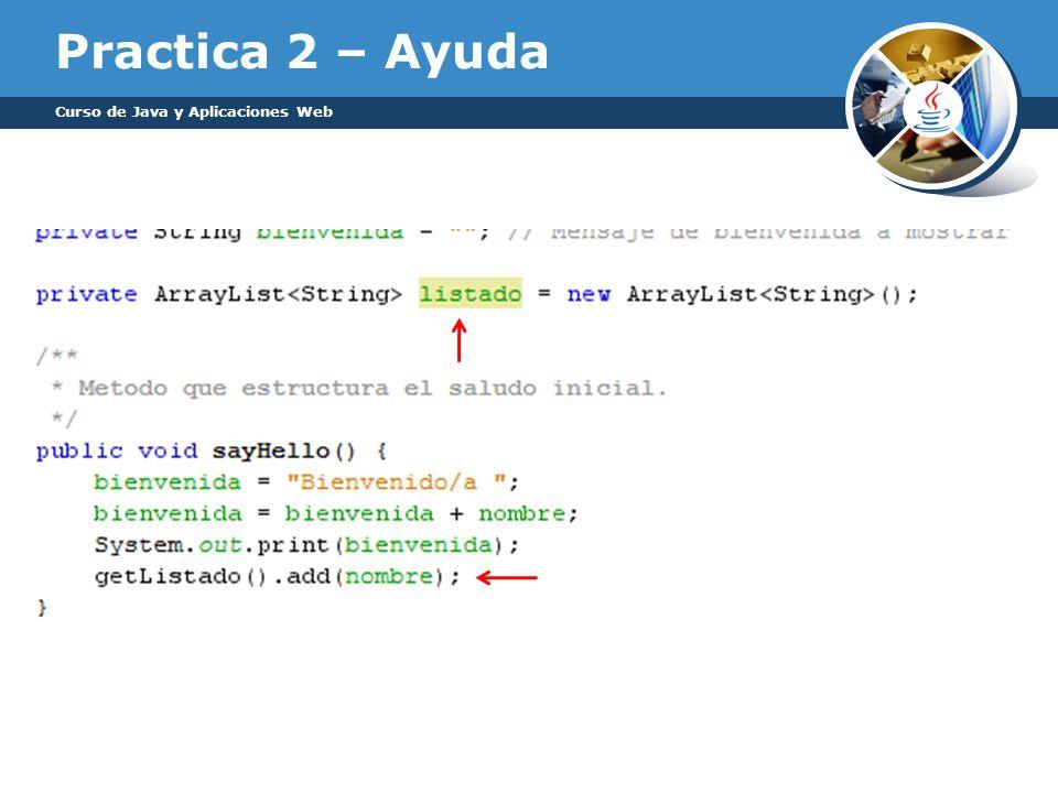 Practica 2 – Ayuda Curso de Java y Aplicaciones Web