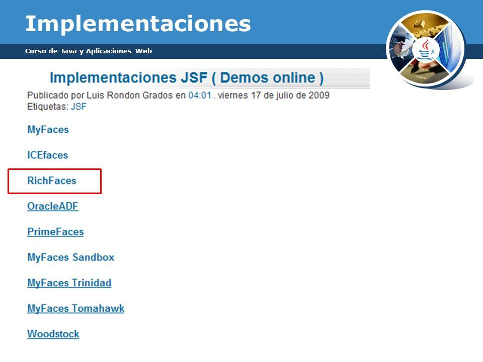 Implementaciones Curso de Java y Aplicaciones Web