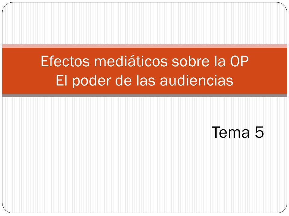 Efectos mediáticos sobre la OP El poder de las audiencias