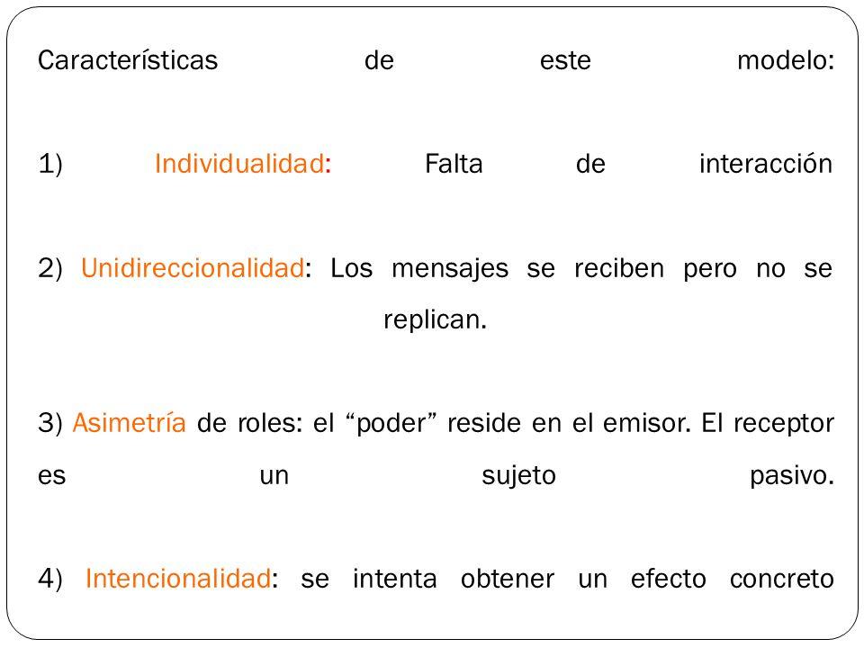 Características de este modelo: 1) Individualidad: Falta de interacción 2) Unidireccionalidad: Los mensajes se reciben pero no se replican.