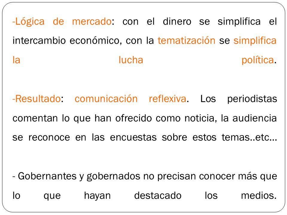 Lógica de mercado: con el dinero se simplifica el intercambio económico, con la tematización se simplifica la lucha política.