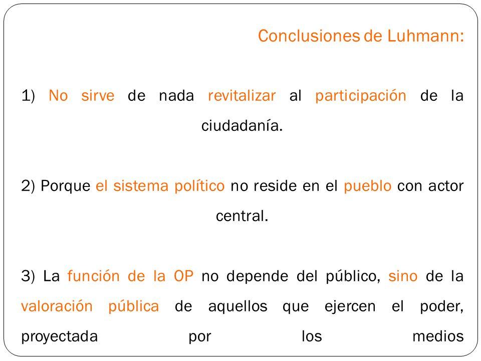 Conclusiones de Luhmann: