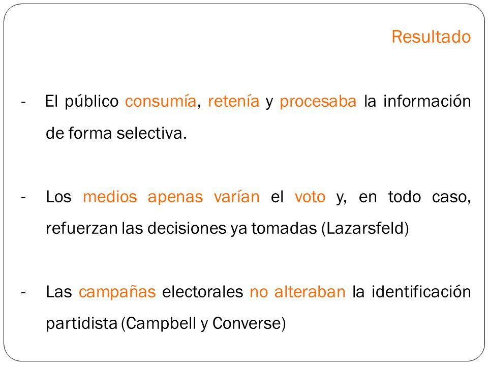 Resultado - El público consumía, retenía y procesaba la información de forma selectiva.