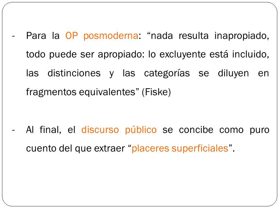 Para la OP posmoderna: nada resulta inapropiado, todo puede ser apropiado: lo excluyente está incluido, las distinciones y las categorías se diluyen en fragmentos equivalentes (Fiske)