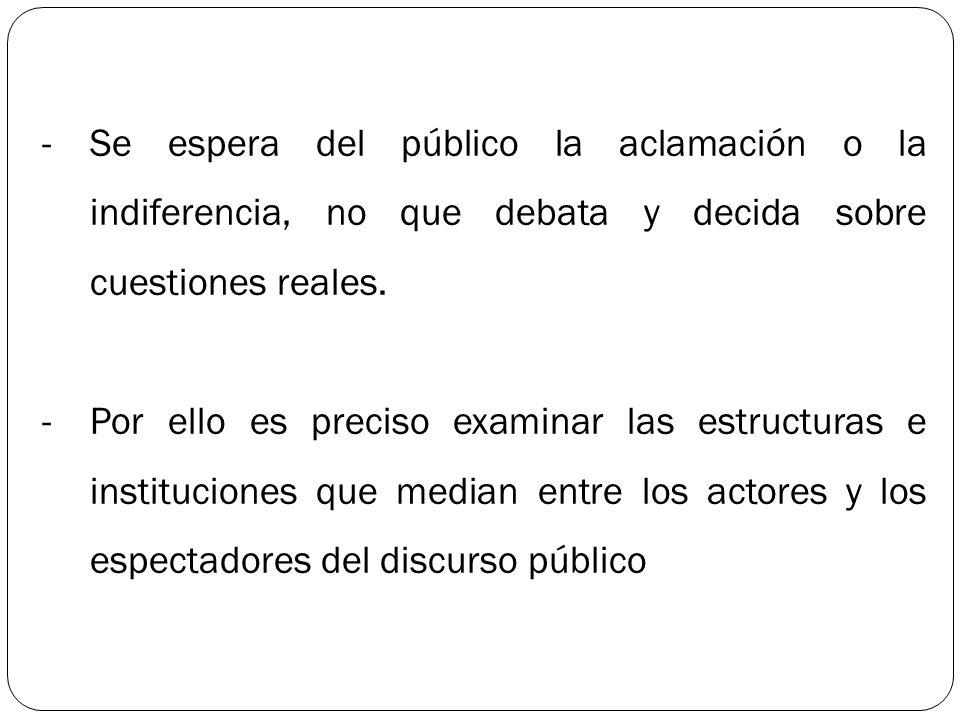 Se espera del público la aclamación o la indiferencia, no que debata y decida sobre cuestiones reales.