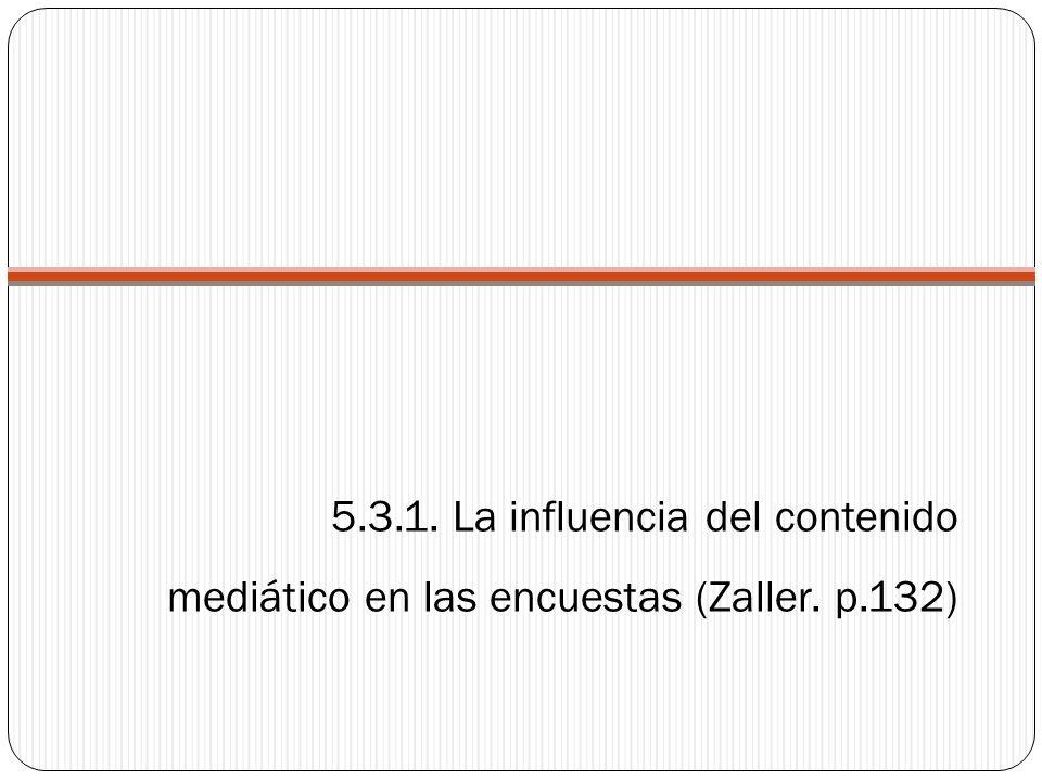 5.3.1. La influencia del contenido mediático en las encuestas (Zaller. p.132)
