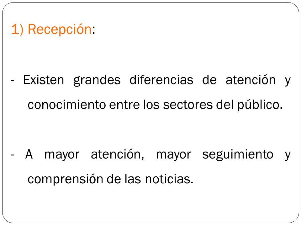Recepción: - Existen grandes diferencias de atención y conocimiento entre los sectores del público.
