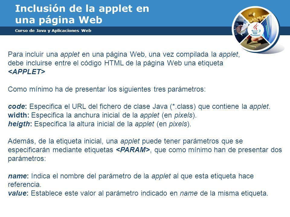 Inclusión de la applet en una página Web