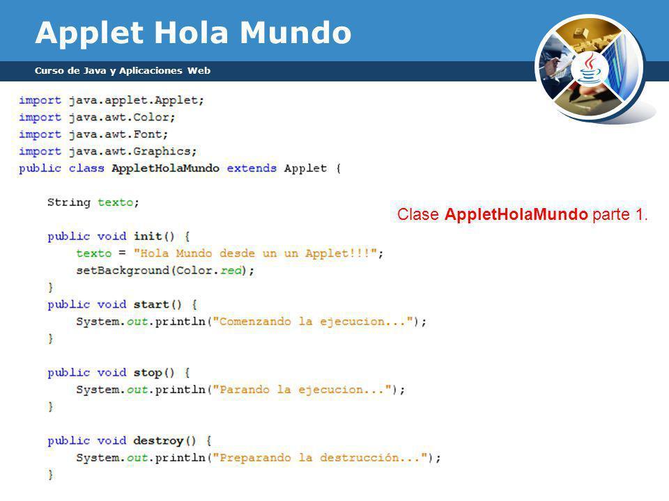 Applet Hola Mundo Clase AppletHolaMundo parte 1.