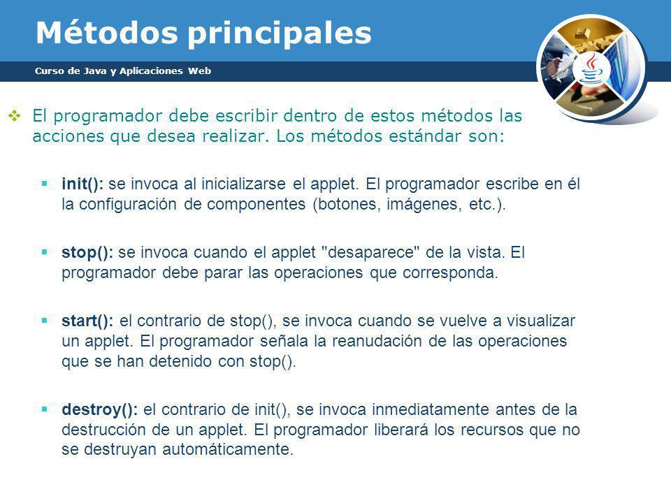 Métodos principales Curso de Java y Aplicaciones Web.