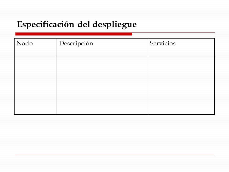 Especificación del despliegue