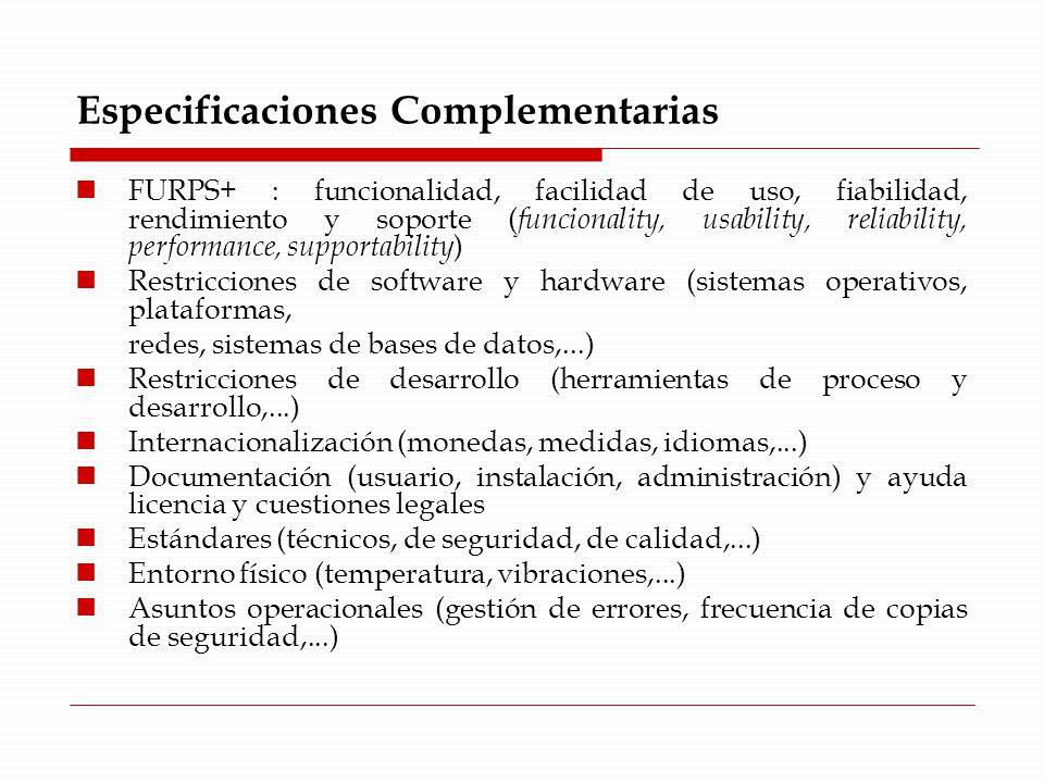 Especificaciones Complementarias