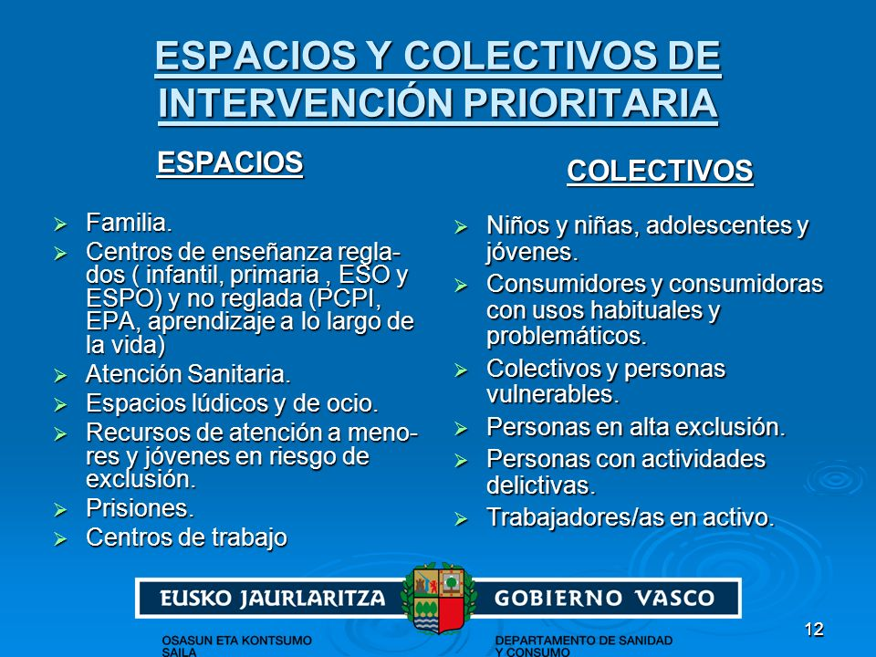 ESPACIOS Y COLECTIVOS DE INTERVENCIÓN PRIORITARIA