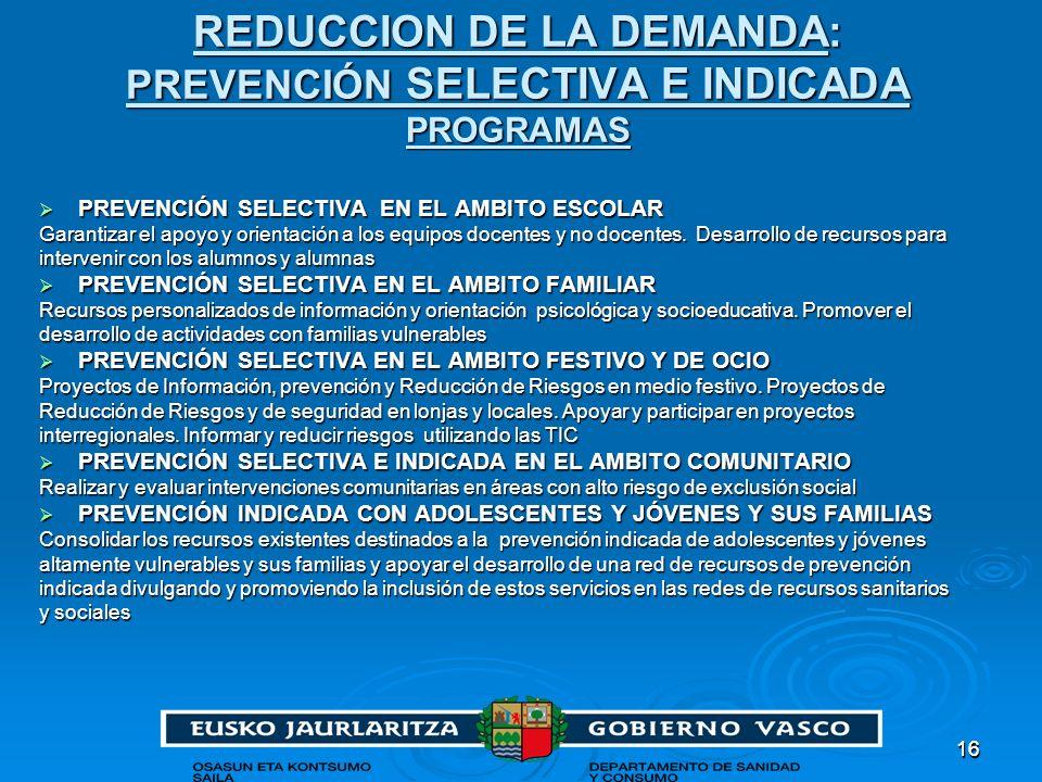 REDUCCION DE LA DEMANDA: PREVENCIÓN SELECTIVA E INDICADA PROGRAMAS