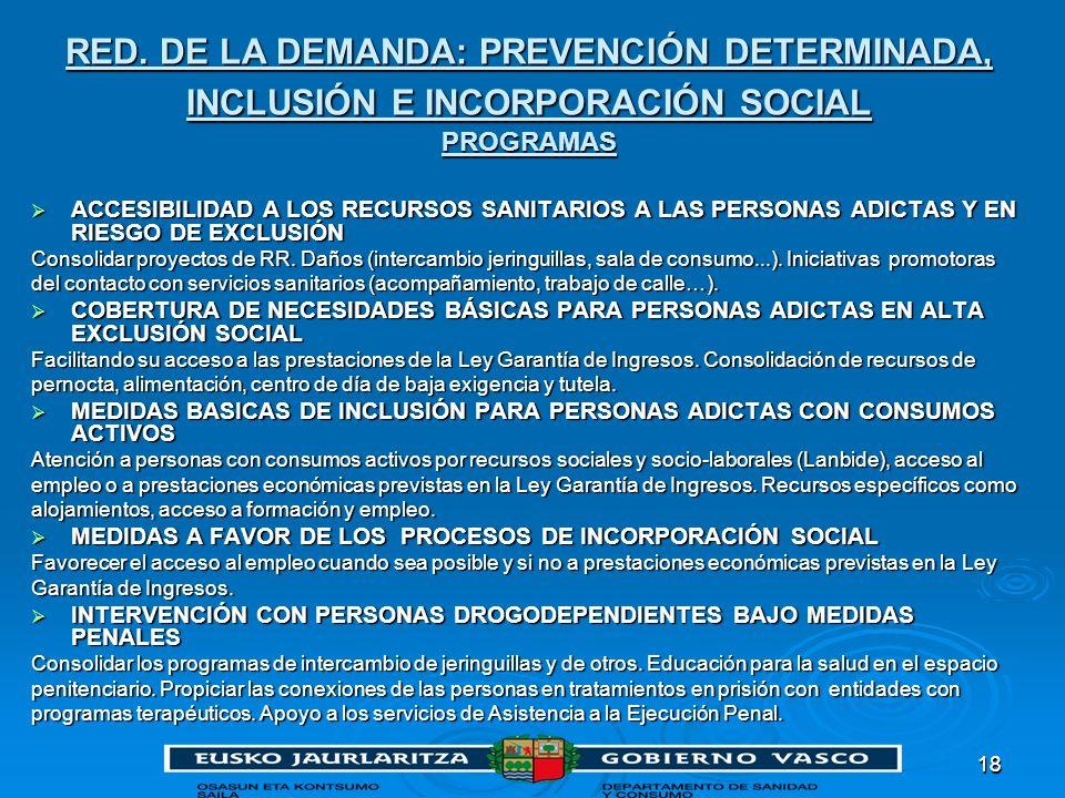 RED. DE LA DEMANDA: PREVENCIÓN DETERMINADA, INCLUSIÓN E INCORPORACIÓN SOCIAL PROGRAMAS