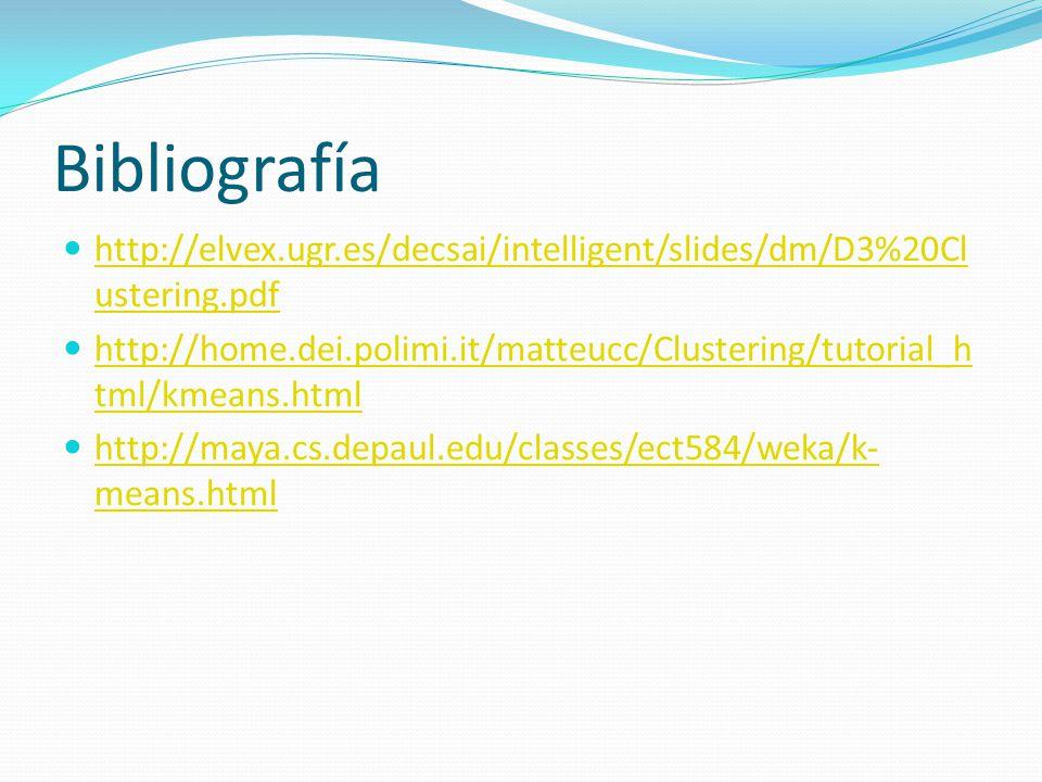 Bibliografía http://elvex.ugr.es/decsai/intelligent/slides/dm/D3%20Clustering.pdf.