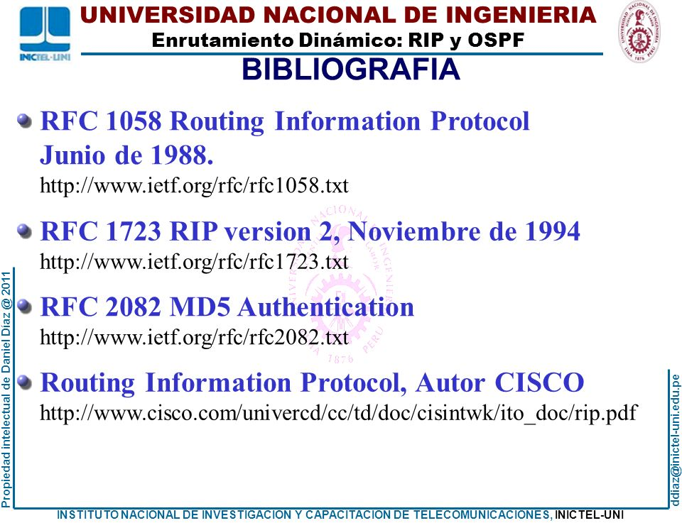BIBLIOGRAFIA RFC 1058 Routing Information Protocol Junio de 1988.