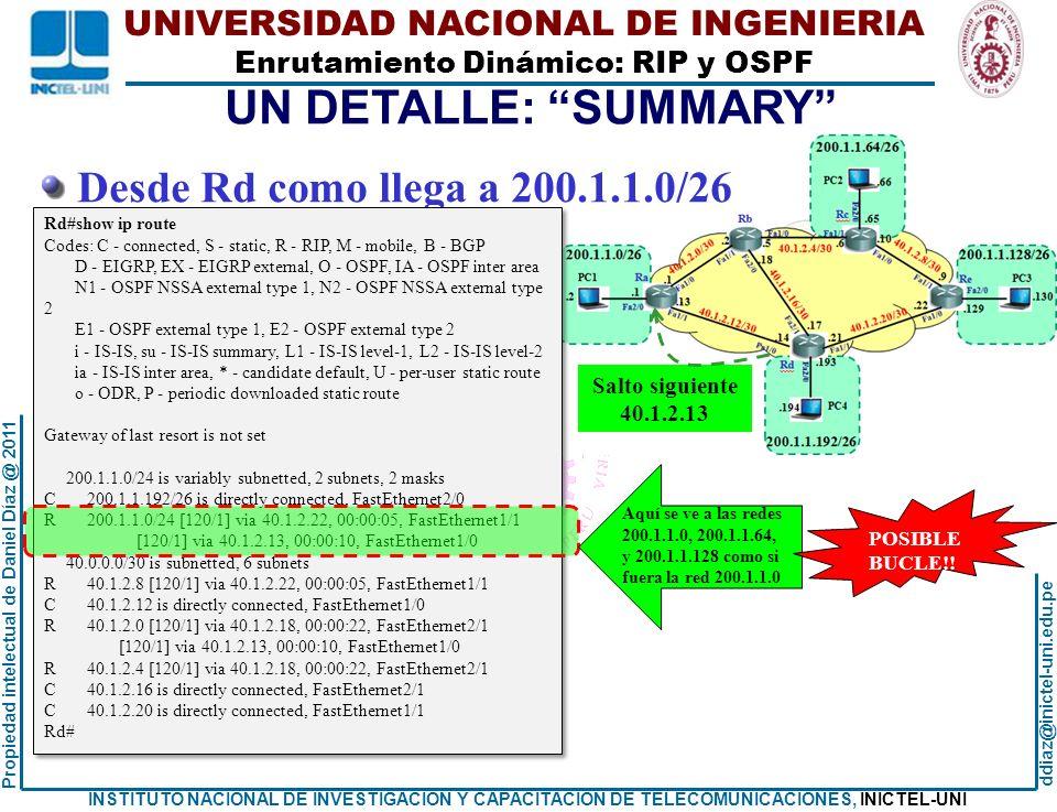 UN DETALLE: SUMMARY Desde Rd como llega a 200.1.1.0/26