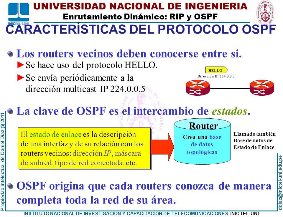 CARACTERÍSTICAS DEL PROTOCOLO OSPF