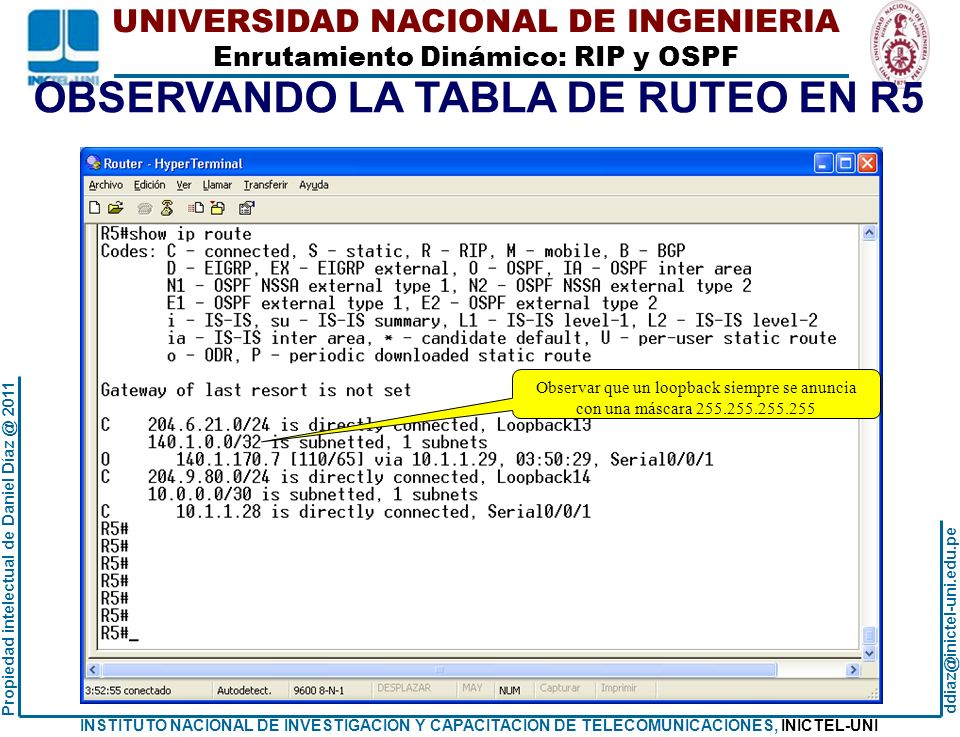 OBSERVANDO LA TABLA DE RUTEO EN R5
