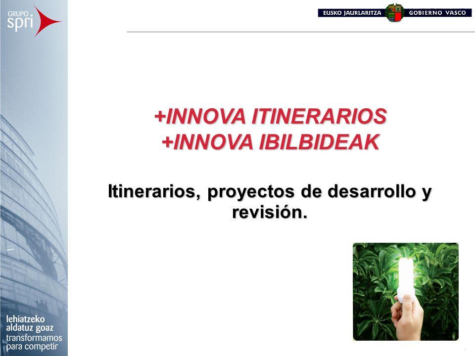 Itinerarios, proyectos de desarrollo y revisión.