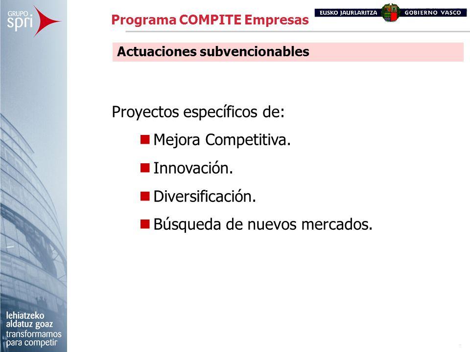 Proyectos específicos de: Mejora Competitiva. Innovación.