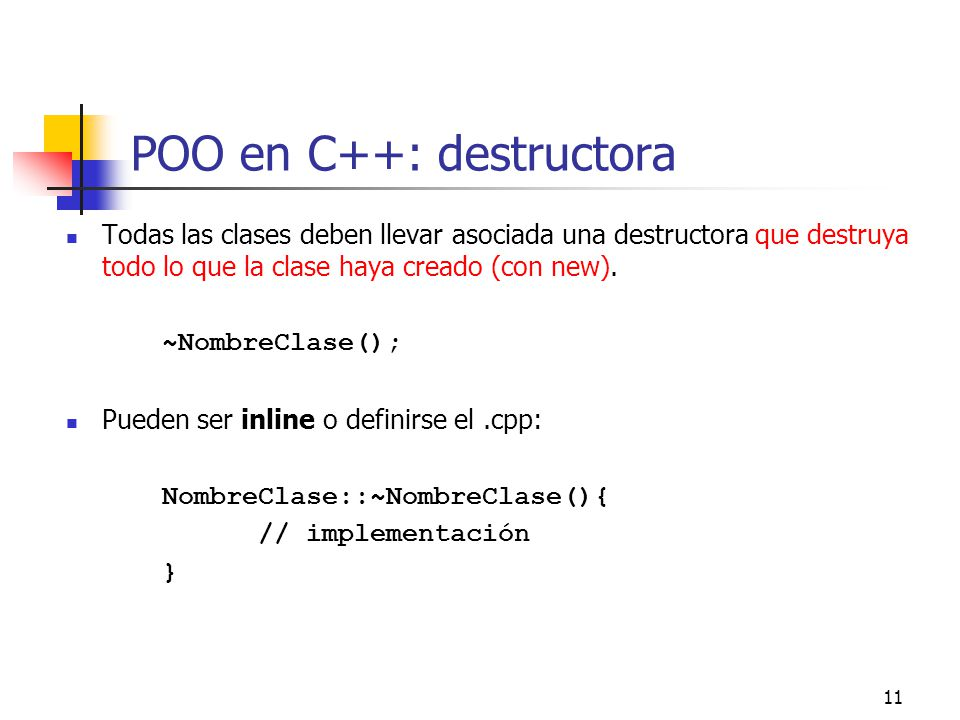 POO en C++: destructora
