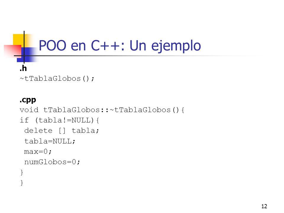POO en C++: Un ejemplo .h ~tTablaGlobos(); .cpp