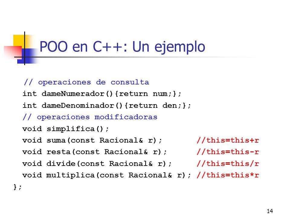 POO en C++: Un ejemplo // operaciones de consulta