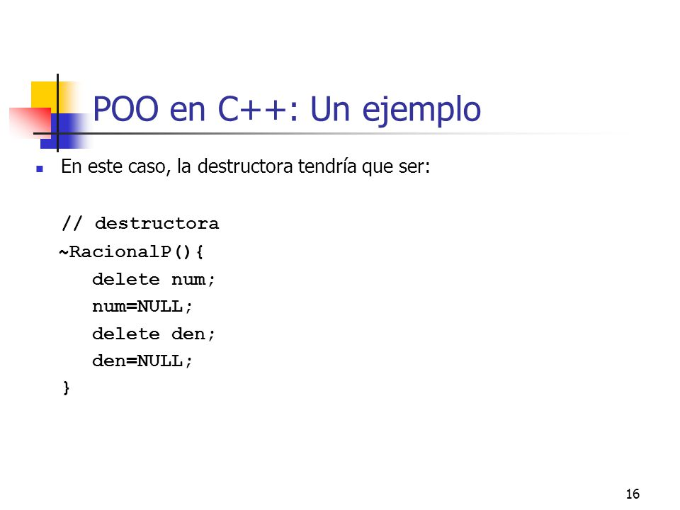 POO en C++: Un ejemplo // destructora