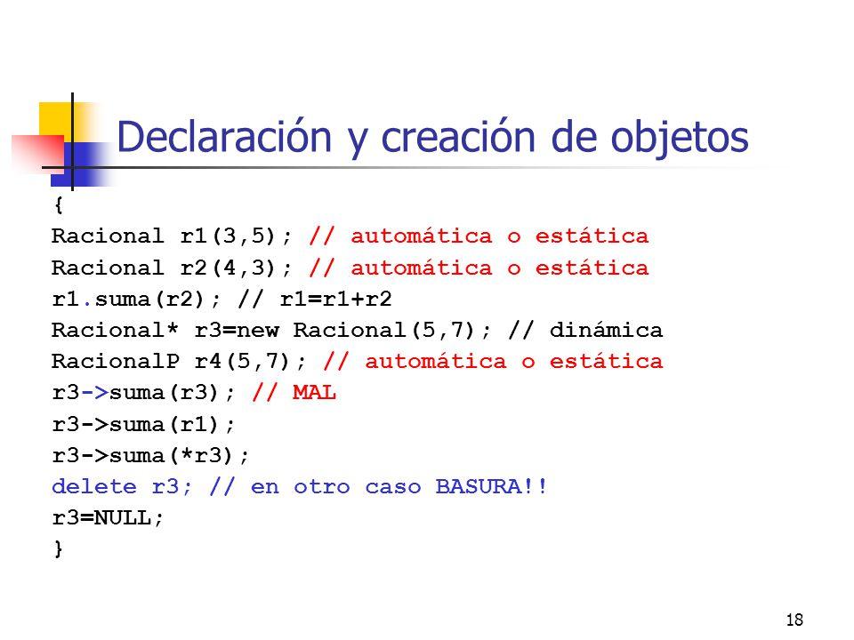 Declaración y creación de objetos