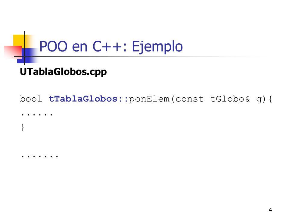 POO en C++: Ejemplo UTablaGlobos.cpp