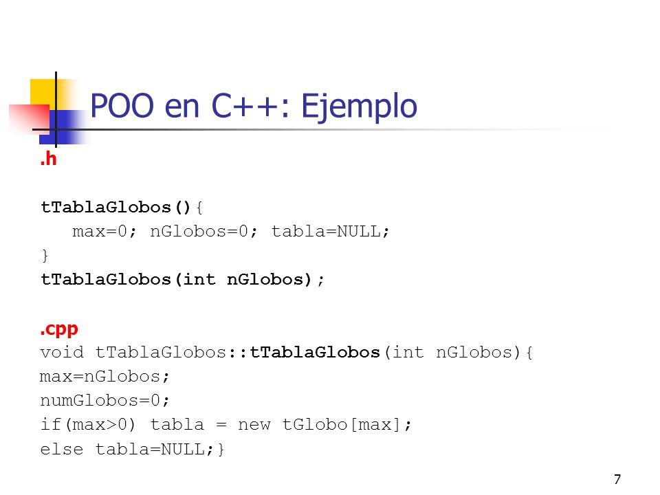 POO en C++: Ejemplo .h tTablaGlobos(){ max=0; nGlobos=0; tabla=NULL; }