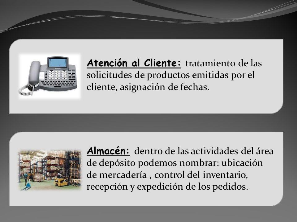 Atención al Cliente: tratamiento de las solicitudes de productos emitidas por el cliente, asignación de fechas.