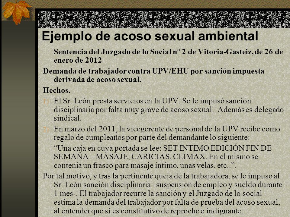 Ejemplo de acoso sexual ambiental