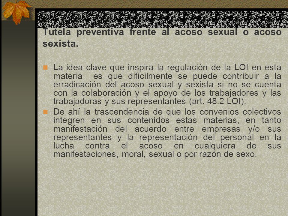 Tutela preventiva frente al acoso sexual o acoso sexista.