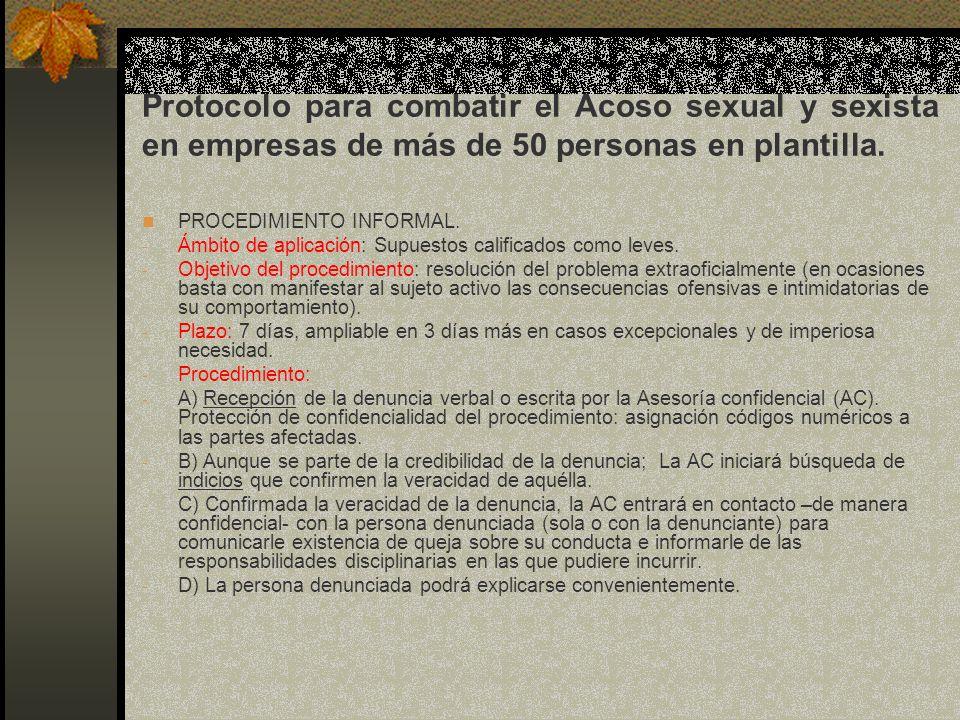 Protocolo para combatir el Acoso sexual y sexista en empresas de más de 50 personas en plantilla.
