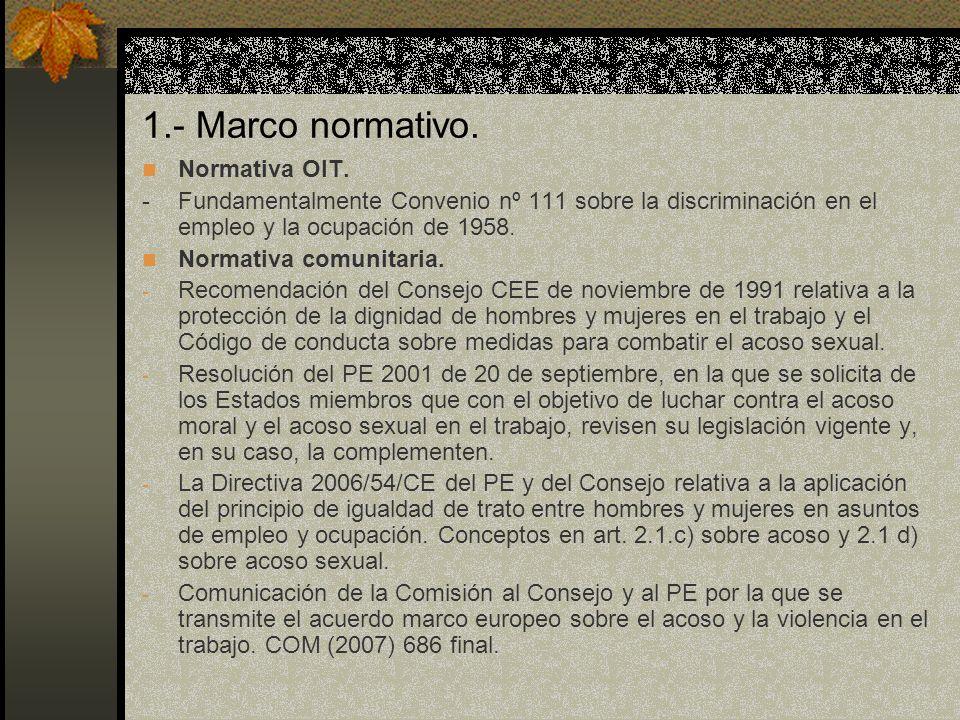 1.- Marco normativo. Normativa OIT.