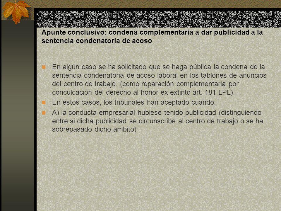 Apunte conclusivo: condena complementaria a dar publicidad a la sentencia condenatoria de acoso