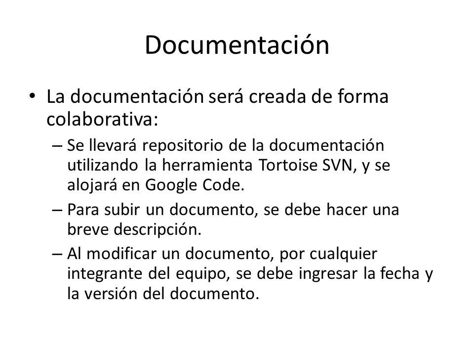 Documentación La documentación será creada de forma colaborativa: