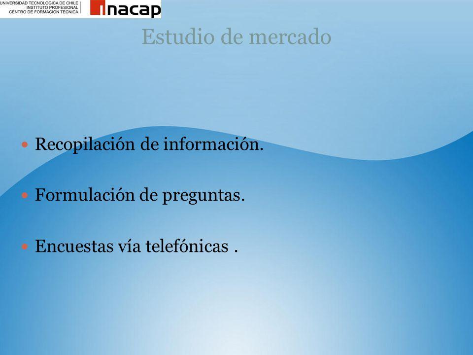 Estudio de mercado Recopilación de información.