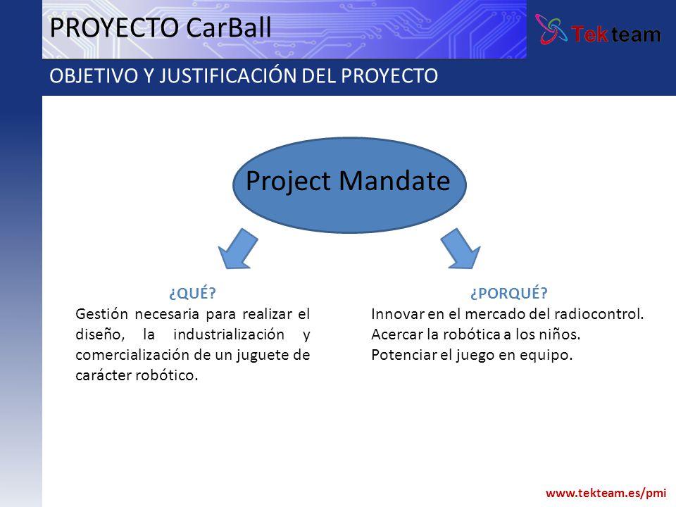 PROYECTO CarBall Project Mandate OBJETIVO Y JUSTIFICACIÓN DEL PROYECTO